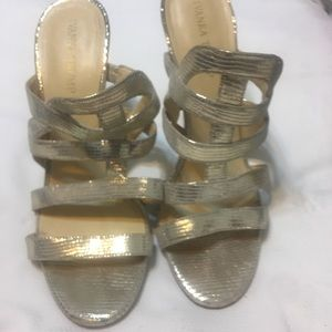 Ivanka Trump gold leather heels